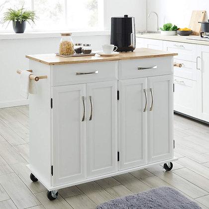 Wood Top Kitchen Island Cart On Wheels