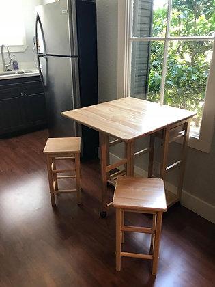 3-Pc Space Saving Wooden Kitchen Table Set