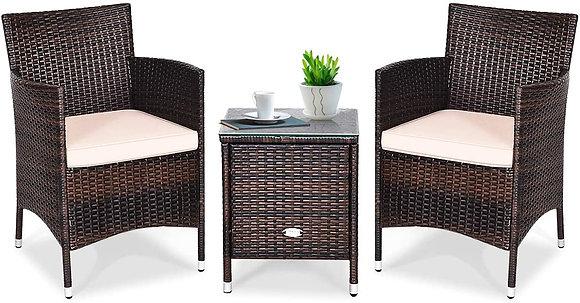3 Pcs Patio Wicker Rattan Furniture Set