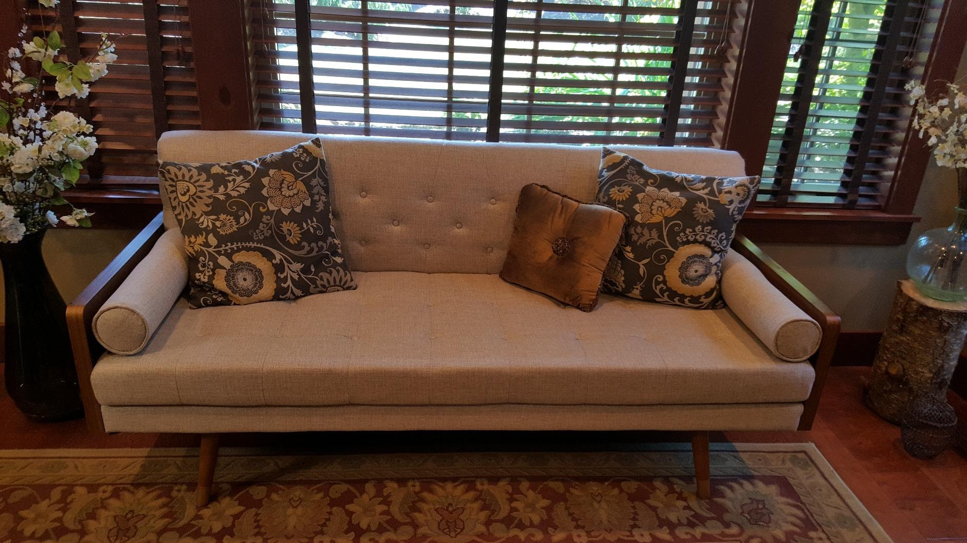 Christopher Knight Mid Century Modern Tufted Fabric Sofa