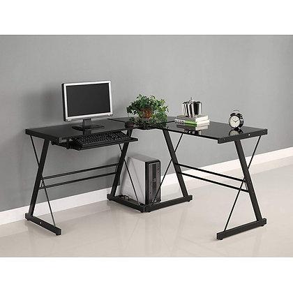 3-Piece Corner Desk - Black Glass
