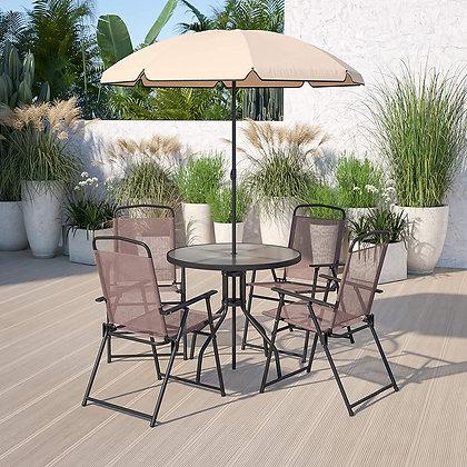 6 Piece Patio Dining and Conversation Set w/ Umbrella