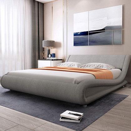 Deluxe Sleek Platform Bed w/ Adjustable Headboard