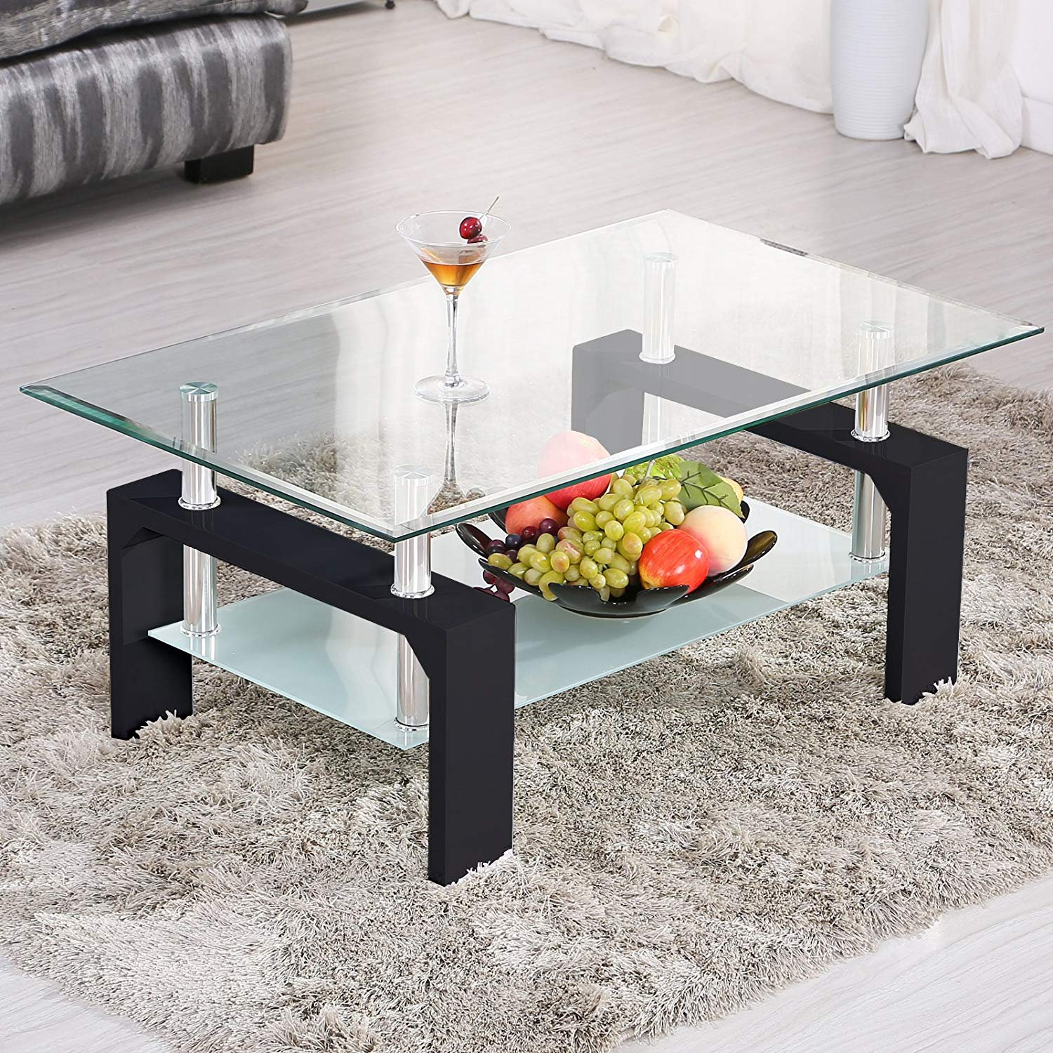 Modern Rectangle Glass Coffee Table With Lower Shelf