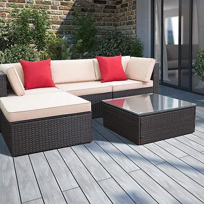 Devoko 5 Pieces All-Weather Patio Sectional Sofa Set
