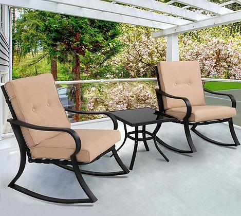 Outdoor 3-Piece Rocking Chairs Bistro Set