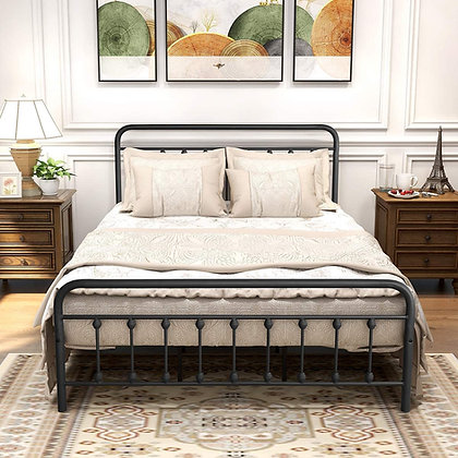 Classic Metal Bed Frame with Headboard and Footboard