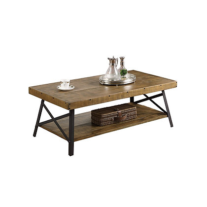 Emerald Home Chandler Rustic Industrial Solid Wood and Steel Coffee Table