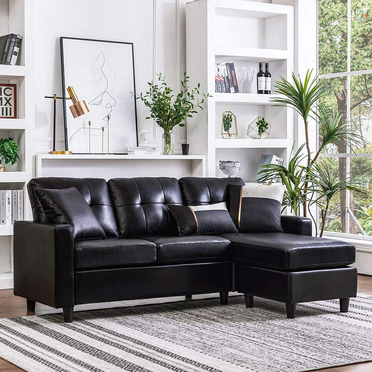 Honbay Sectional Leather Couch L Shape