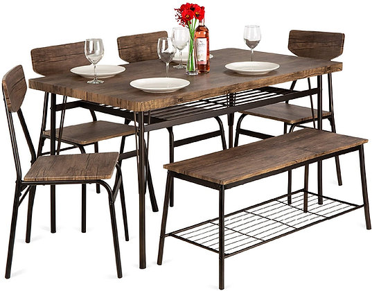 6-Piece Wooden Modern Dining Table Set