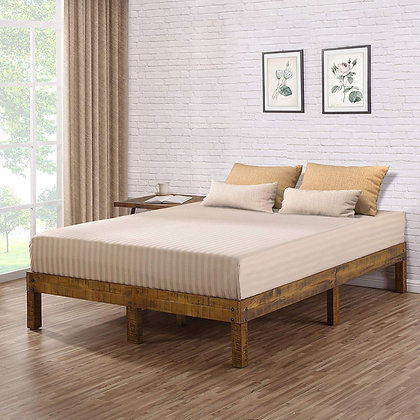 Rustic Solid Wood Platform Bed with Natural Finish