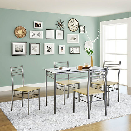 VECELO Dining Table with 4 Chairs [4 Placemats Included-]