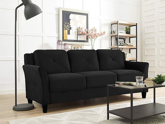 Black Micro-Fabric Sofa for Family