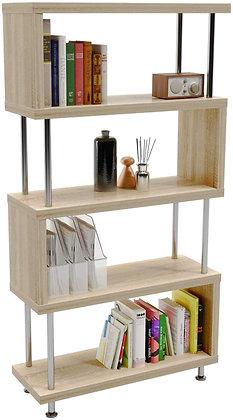 Sleek 5 Shelf Geometric Bookcase Display Shelf