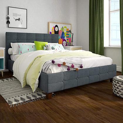 DHP Upholstered Linen Cushion Bed Frame