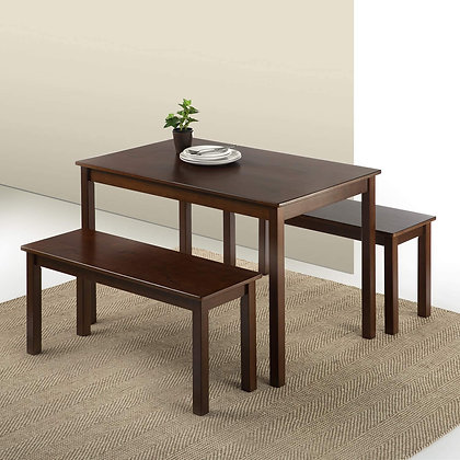 Zinus Espresso Wood Dining Table Set w/ 2 Benches