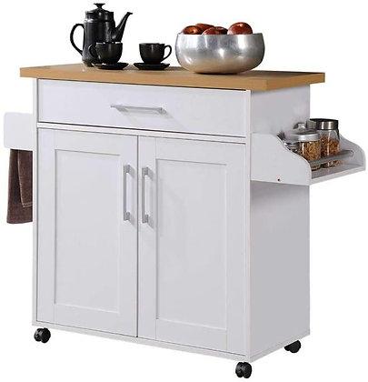 Wooden Kitchen Island Cart with Wheels
