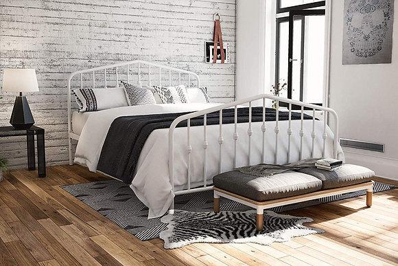 Novogratz Modern Design metal bed frame - White