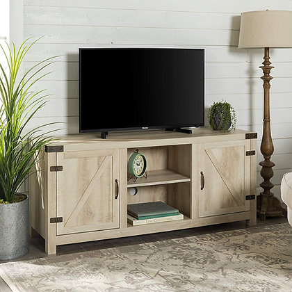 """Wood Storage TV Stand for up to 64"""" - White Oak"""