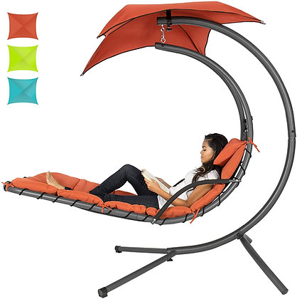 Hanging Curved Chaise Lounge Chair Swing w/ Canopy