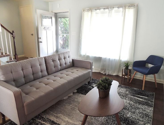 Mid-Century Upholstered Living Room Couch - Stone Gray