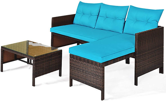 3 PCS Outdoor Rattan Sofa and chaise lounge Set