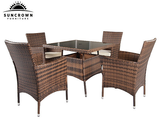 Suncrown Outdoor Furniture All-Weather Square Dining Table and Chairs (5-piece)