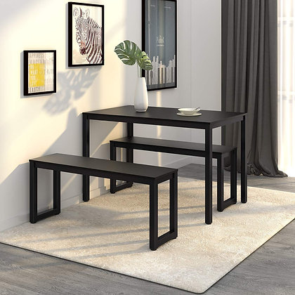 3 Pieces Sleek Dining Table with Benches Set