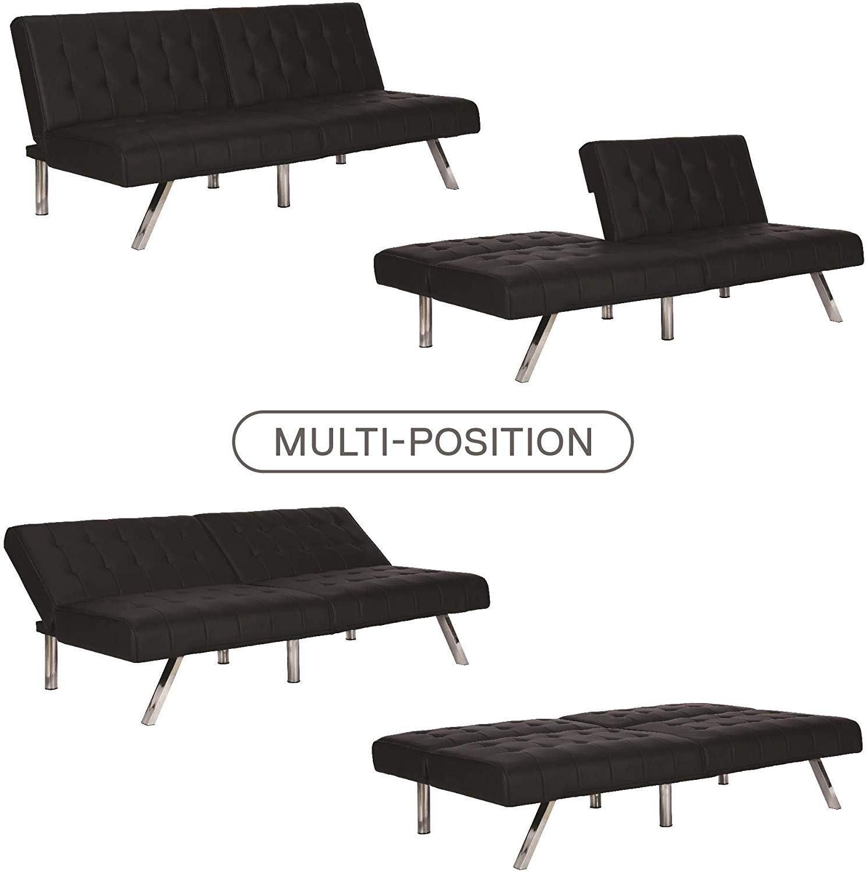 Dhp Emily Futon Sofa Bed Black Amp White Faux Leather