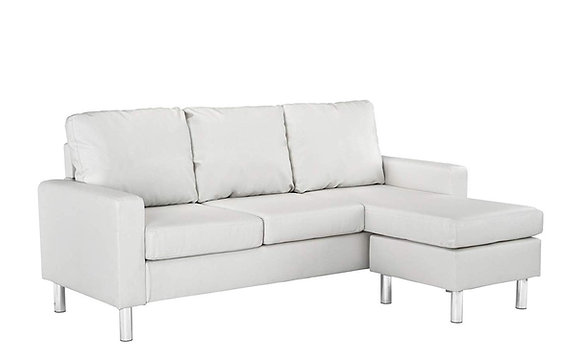 Modern Configurable Leather Sectional Sofa - White