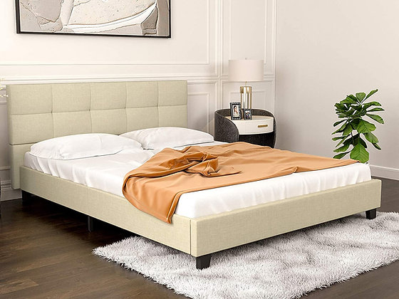 Metal Platform Bed w/ Cushion Headboard