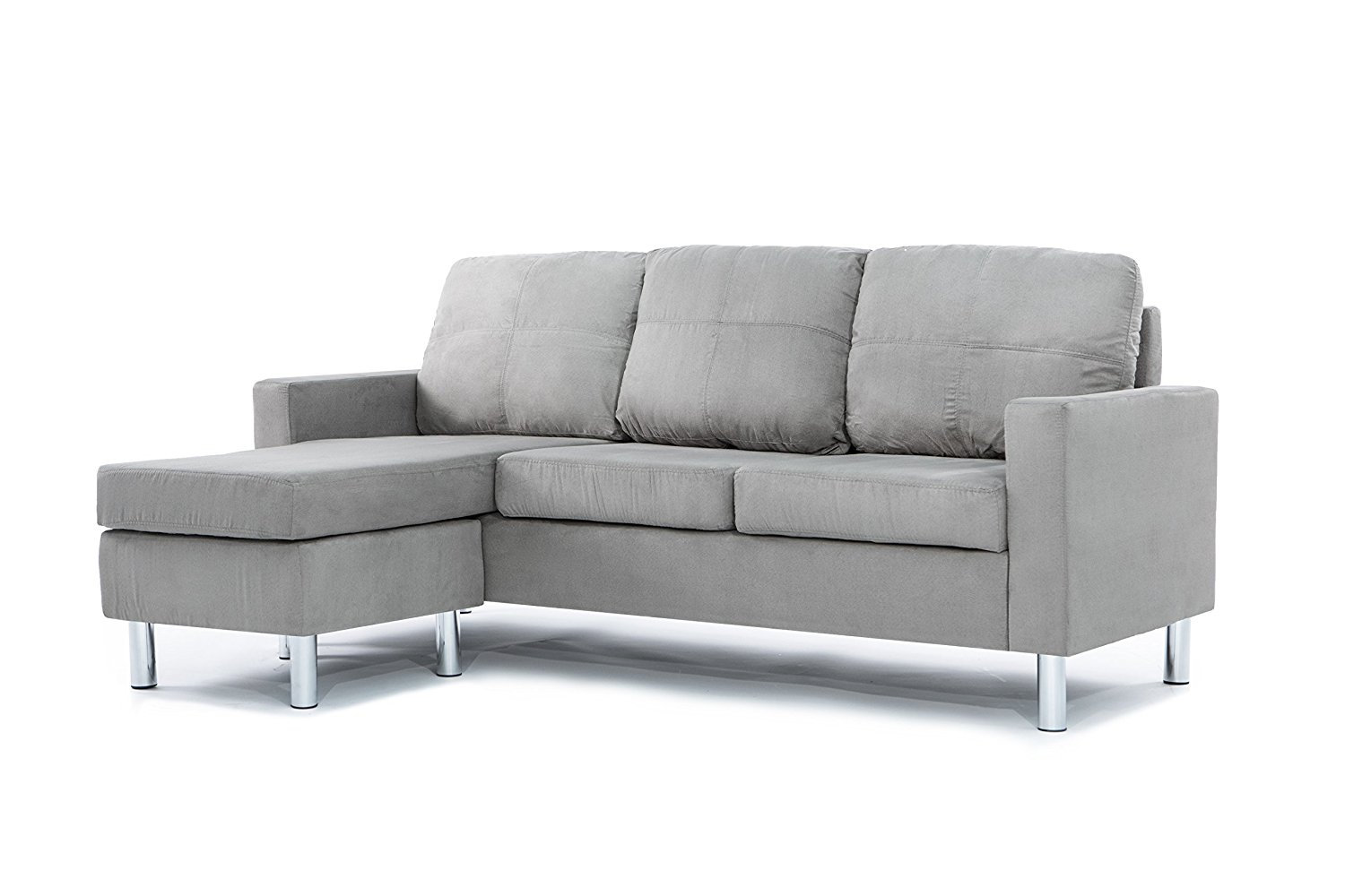 Modern Soft Brush Microfiber Sectional Sofa - Small Space ...