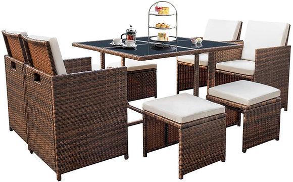 Outdoor 9 Pieces Patio Dining Table Set