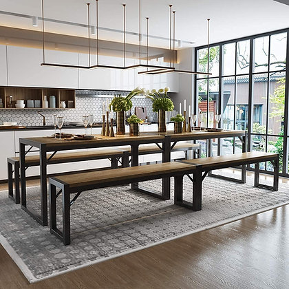 Wood w/ Metal Frame Dining Table Set