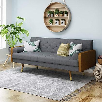 Christopher Knight Mid Century Tufted Fabric Sofa, Gray