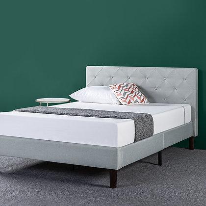 Upholstered Diamond Stitched Platform Bed / Mattress Foundation