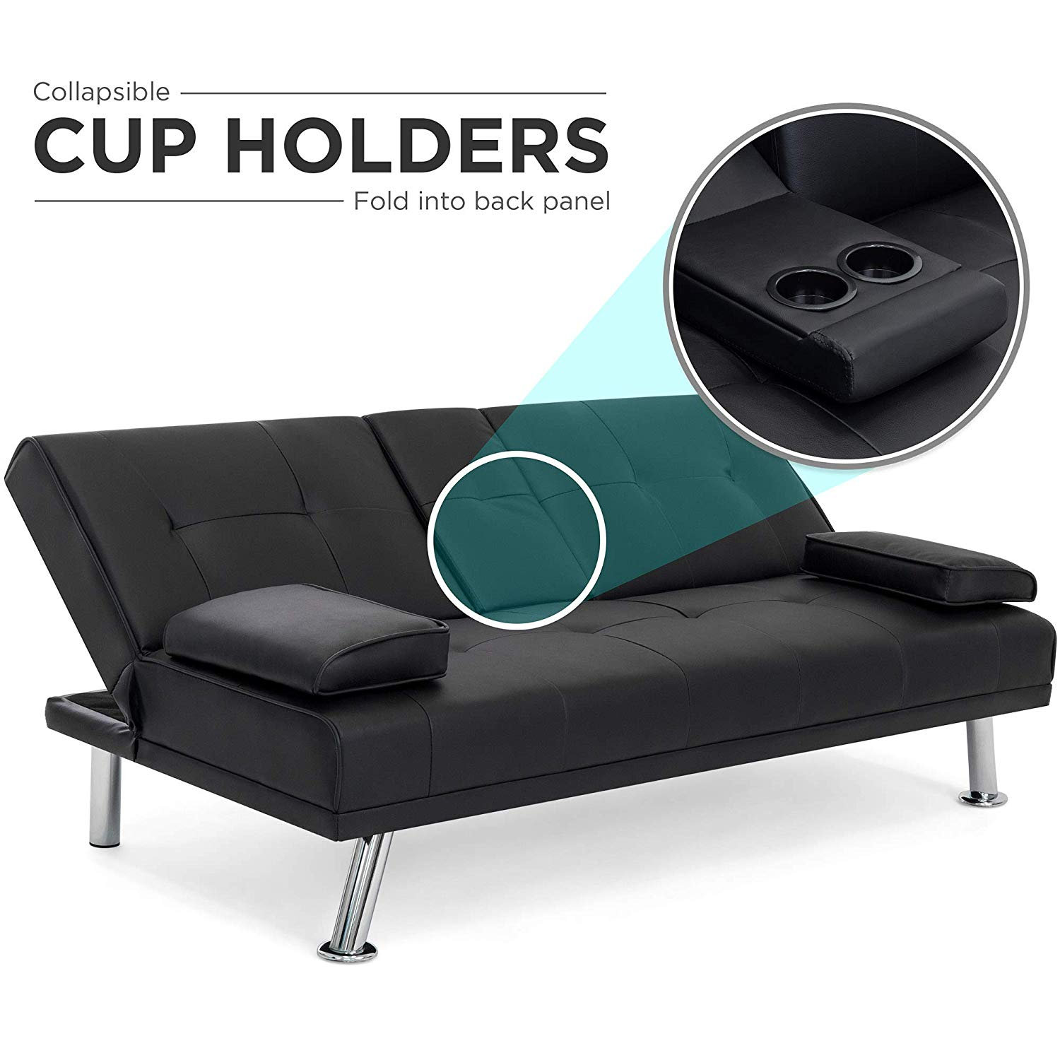 Leather Futon Sofa Bed & Recliner Couch (with Cup Holders ...