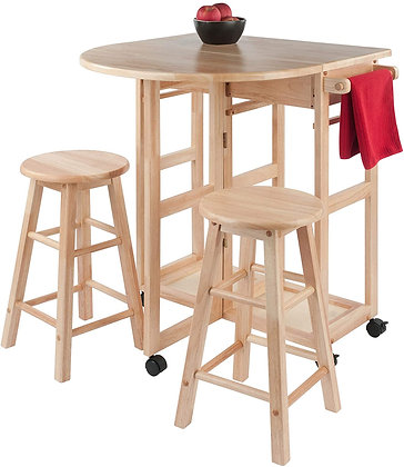 3 Pieces Space Saver Foldable Table Set