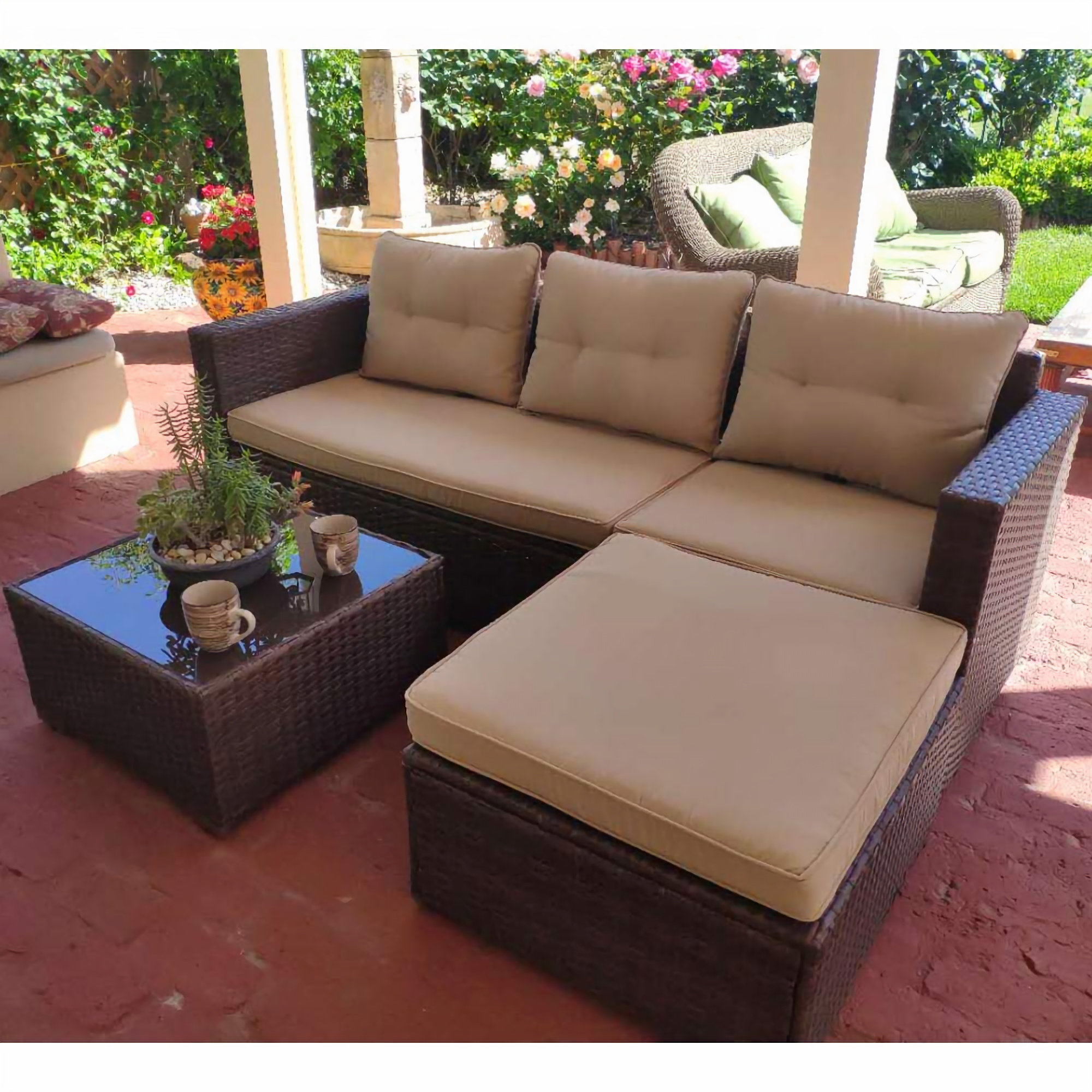 SUNSITT Outdoor Sectional Sofa 4 Piece Set   Comfy Niche on Outdoor 4 Piece Sectional id=37281