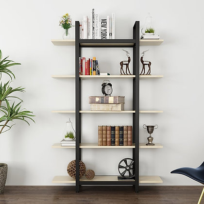 5-Tier Bookshelf, Vintage Industrial Style Bookcase