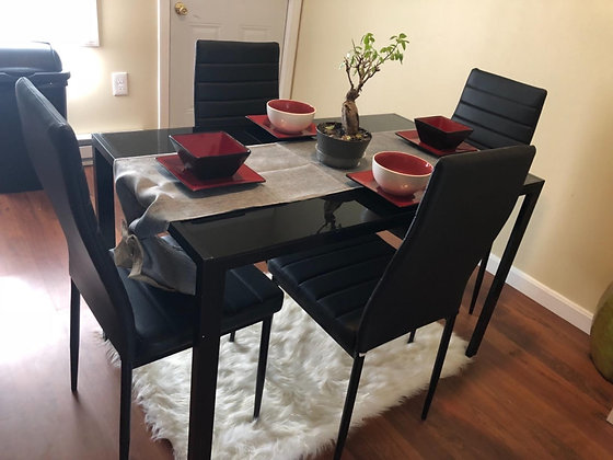 5 Piece Kitchen Dining Table Set - Glass Top & Leather Chairs