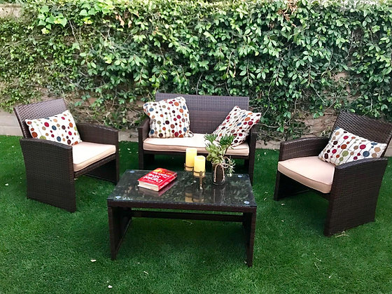 4-Piece Wicker Patio Furniture Set (Tempered Glass Table & 4 Seats)