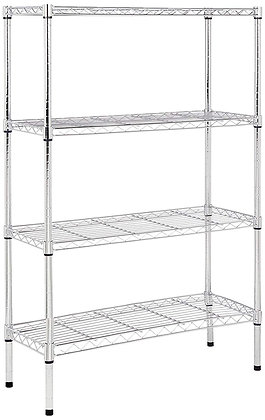 Sturdy 4-Shelf Shelving Unit - Chrome