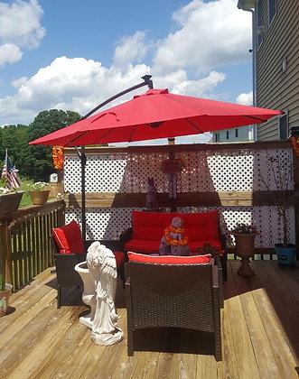 10ft Solar LED Hanging Patio Umbrella w/Easy Tilt