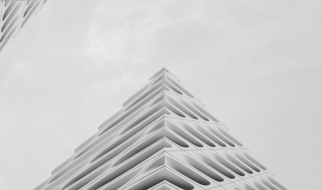 White modern architecture edge in black and white