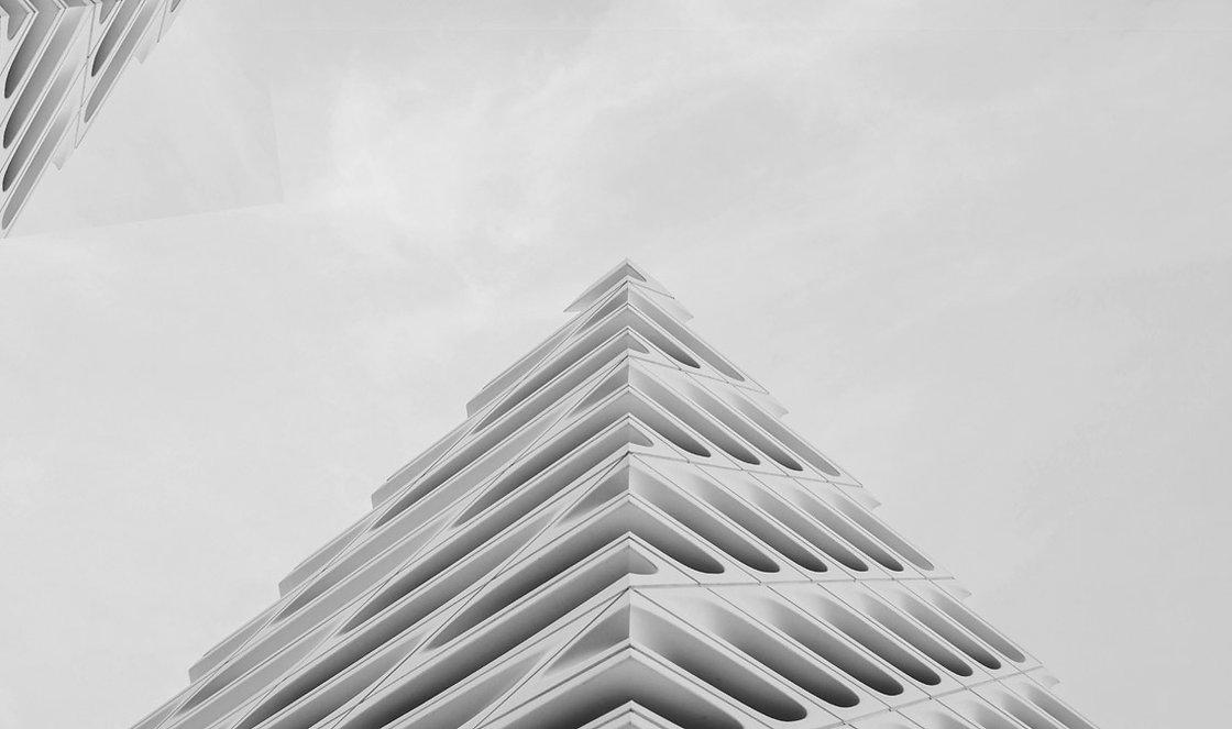 Wavey corner of a building with unique architecture