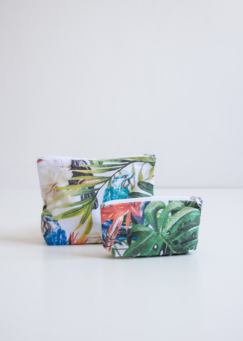 Kosmetyczka bawełniana rajskie ptaki - set