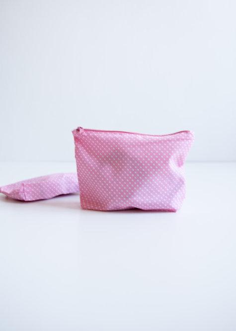 Kosmetyczka bawełniana POLKA DOT różowa - set