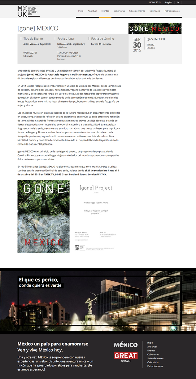 [gone] MEXICO got the officiall   support from the Government of Mexico as part of the Year of Mexic