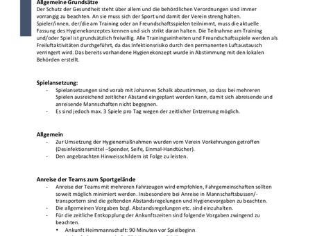 Hygienekonzept des TSV Aach-Linz
